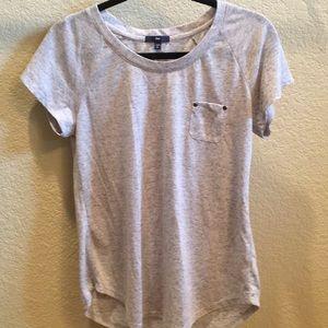 grey, pocketed t-shirt
